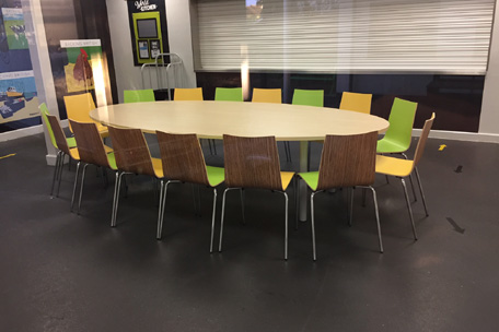 Bespoke Oval Table and CLS1020 chairs in Two tone laminate.jpg